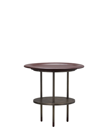 Alì Babà is a bronze small table with leather tray and feet, from Promemoria's Fairy Tales collection | Promemoria