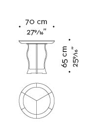 Dimensions of Erasmo, a circular bronze small table with wooden or leather top, from Promemoria's catalogue | Promemoria