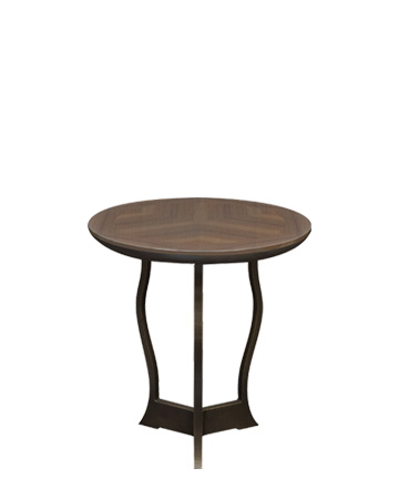 Erasmo is a circular bronze small table with wooden or leather top, from Promemoria's catalogue | Promemoria