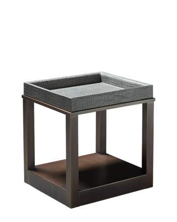 Scarlett is a bronze small table with wheels and a removable leather tray, from Promemoria's catalogue | Promemoria