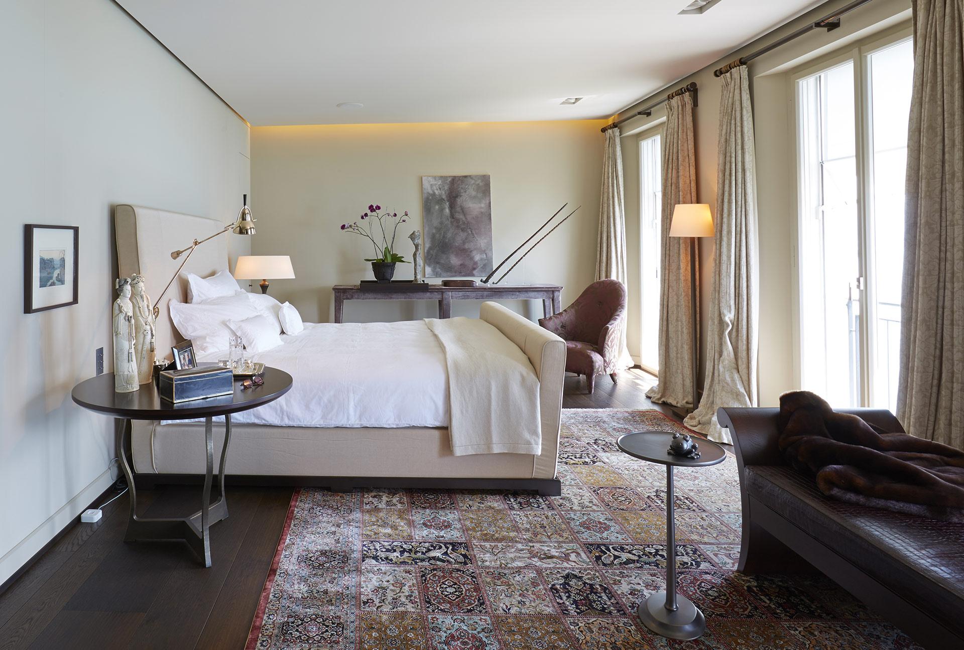 Bedroom in a private residence in Locarno, Switzerland furnished with Promemoria | Promemoria